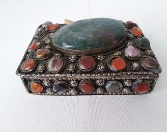 "Bohemian Trinket Box-Large Center Jasper Stone-Multi Stone-4.25"" x 3.5""-1"" height"