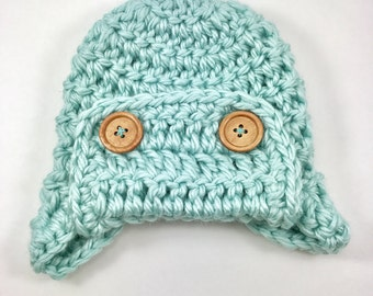 Baby hat, crochet baby hat, baby boy Aviator hat, crochet baby boy hat, crochet hat, blue hat