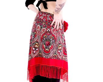 Russian SHAWL - Tribal Fusion Bellydance Fringe hip shawl, ATS hip scarf, fringe shawl