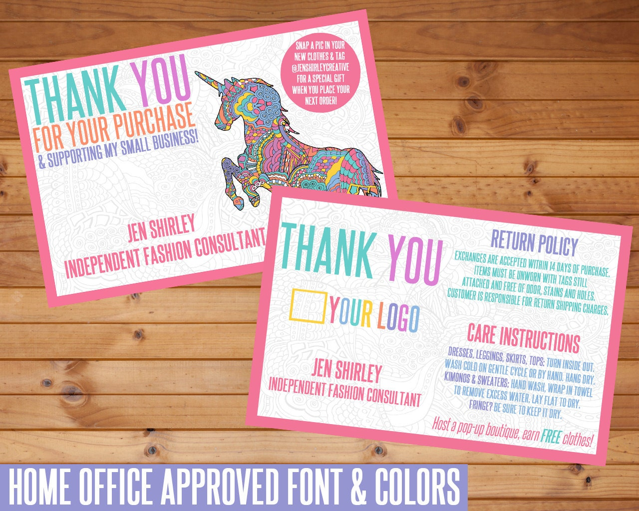 SALE Thank You Card Unicorn Customized Digital Download