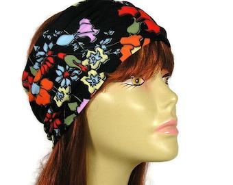 Black Floral Head Wrap Swim Head Wrap Yoga Head Wrap Black Flower Headband Do Rag Dreads Womens Head Wrap Womens Headband Black Turban Wrap