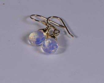 Wire Wrapped Crystal Drop Earrings Opalite Natural stone Earrings Teardrop Earrings 14K gold filled wire wrap earrings Birthstone earrings