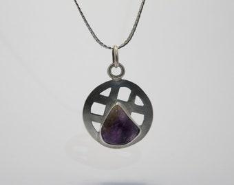Natural Amethyst Celtic inspired sterling silver pendant