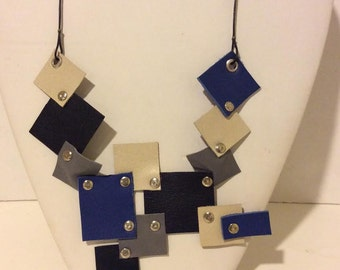 Navy multi color leather mosaic short necklace