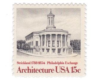 10 Unused Vintage Postage Stamps - 1979 15c Philadelphia Exchange - American Architecture Series - Item No. 1782