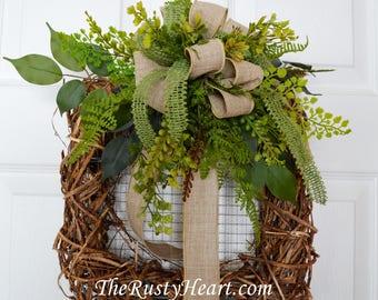 Square grapevine wreath, spring wreath, everyday wreath, grapevine wreath
