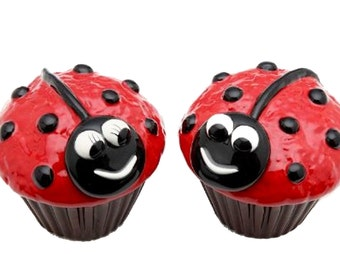 Ladybug Cupcake Salt and Pepper Set