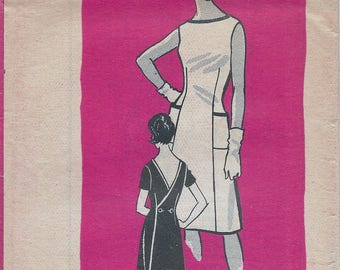 1960s Mail Order 9458 Women's Short Sleeve Back-Wrap Dress Sewing Pattern