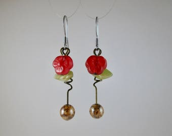 """Vintage Bead """"Amaryllis"""" Earrings with Brass on Sterling"""
