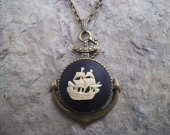 """Stunning White Colored Clipper Ship (on a black background) Cameo Pendant Necklace---.925 plated 22"""" Chain--- Great Quality"""