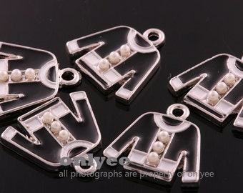 4pcs-15mmX14.5mmSilver plated over Brass Epoxy cute  black Jacket With pearl button Pendants,Charms(K641S)