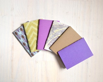 Notebooks: 6 Tiny Journal Set, Purple, Peacock, Green, Small Notebooks, For Her, For Him, Gift, Unique, Mini Journals, Party, Wedding, T112