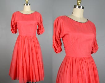 CLEARANCE // Vintage 1950s Coral Chiffon Dress As Is 50s Cocktail Formal Party Dress with Rhinestone Collar Size XS