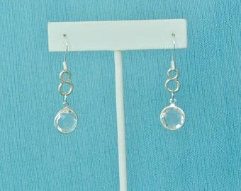 Swarovski Clear Quartz Round Infinity .925 Sterling Silver Earrings