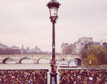 Paris Love Locks Bridge, Paris Photography Print, Valentines Day Gift, Bedroom Wall Decor, Pink French Decor, Pont Des Arts, Romantic Art