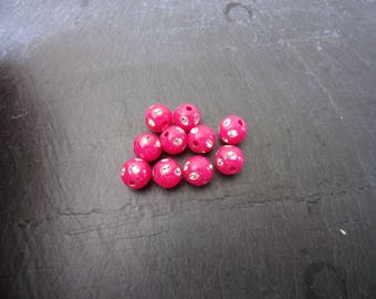 Set of 20 plastic fancy color fuchsia with 8mm rhinestones