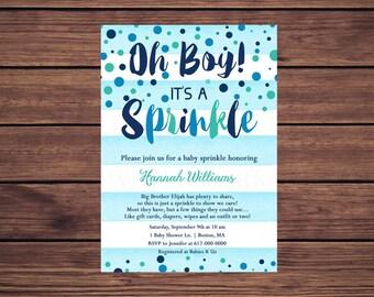 Baby Sprinkle Invitation Boy, Blue Watercolor Stripes Blue Teal Confetti Baby Sprinkle Invitation, Navy Blue Baby Boy Sprinkle Printable 204
