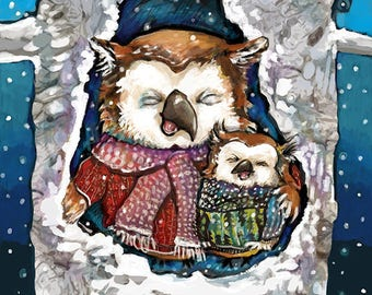 Owls Tasting Snowflakes - 8x10 Print