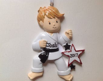 Personalized  Christmas Ornament Boy Karate, Kung-Fu, Tae Kwon Do, Judo Kids, Coach, Trainer Gift/ Gift Tag