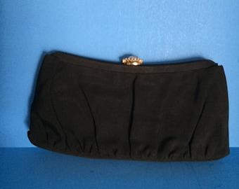 Garay Vintage Black Clutch with Rhinestone Top Clasp