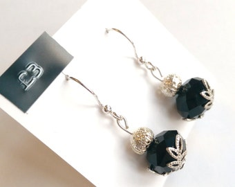 Black and Floral Silver Earrings
