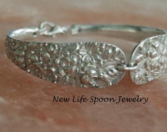 "Spoon Bracelet""Narcissus""Floral Spoon Bracelet Silverware Jewelry Antique Spoon Handles Ornate Wedding Gift Handmade Fork Jewelry-191a"