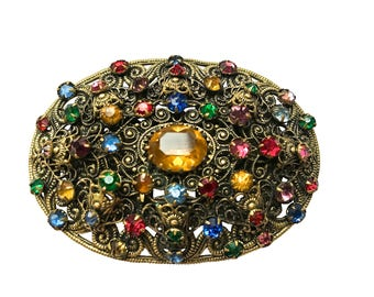20s-30s RARE Art Deco Vintage Antique Statement Oval Czech Jewellery Ornate Filigree Multi Color Crystal Rhinestone Gilded Brass Brooch Pin