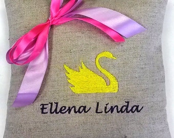 Decorative pillow Linen pillow Embroidered cushion Accent pillow Cushion with name Gift for her Gift for mother Gift for daughter for son