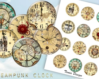 12 Steampunk Clocks 2 inch instant download printable images digital collage sheet