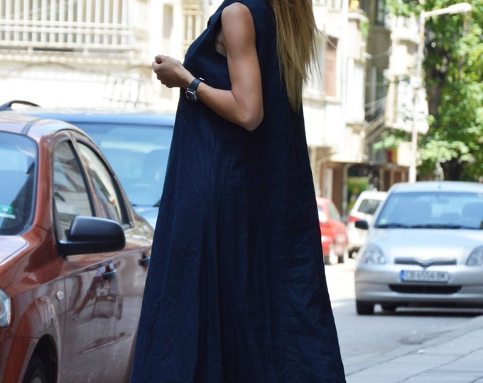 Plus Size Dark Blue Dress, Maxi Dress, Extravagant Long Dress, Asymmetric Dress, Summer Top, Linen Kaftan by SSDfashion