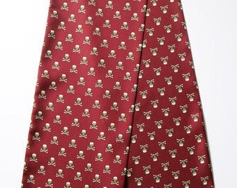 "Burgundy Skulls & crossbones Hand printed Silk Cravat 50"" X 6.5"" New, hand made."
