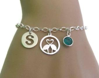 Personalized Flamingo Bracelet, Birthstone Bracelet, Initial Bracelet, Love Bracelet, Sterling Silver Bracelet, Jewelry, Gift for her