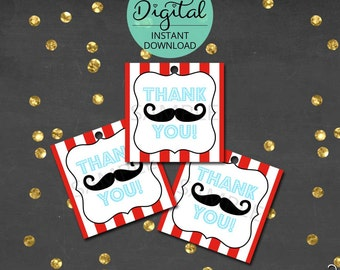 Little Man Thank You Tags, Mustache Tags, Thank You, Little Man Birthday, Mustache Bash, Printable Thank You Tags,  INSTANT DOWNLOAD #7211
