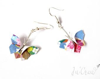 Boucles d'oreilles Papillons Origami fleuris