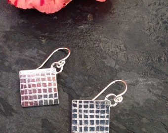 British handmade silver hanging square engraved earrings