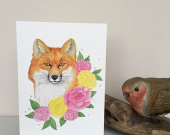 Floral fox blank greeting card, A6 size, blank inside with white envelope, red fox and roses watercolour illustration