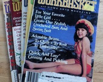 Lot of 5 1980s The workbasket and home arts magazine, vintage crochet knit patterns, large lot Work basket needlework pattern