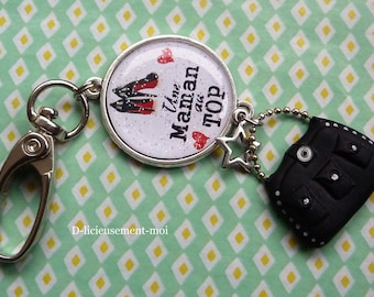 Keychain bag cabochon MOM snap charm top and star handbag charm polymer clay
