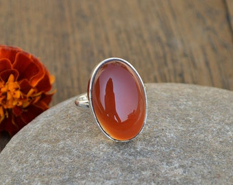 Carnelian Gemstone Ring- August Birthstone - 925 Sterling Silver Ring - Natural Orange Carnelian Ring- Oval Ring Jewelry- Yellow Gold Ring