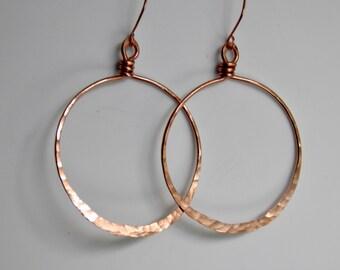 Copper Earrings, Large Hoop Earrings Copper Hoops ~ Handcrafted Earrings Hammered & Oxidized Rustic Copper Handmade