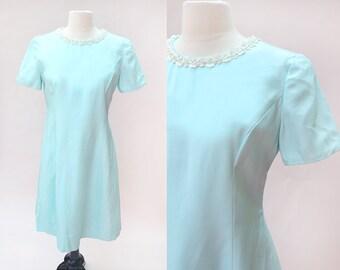 Vintage Dress / Vintage Blue Shift Dress
