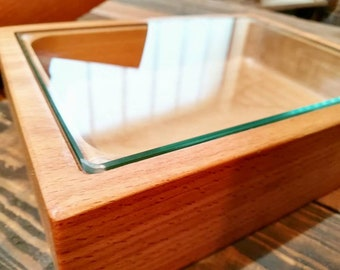 UNDER PLATE for smoke effect / Chef's choice / Plate / Glass / Cooking / Serving / Gift / Wood