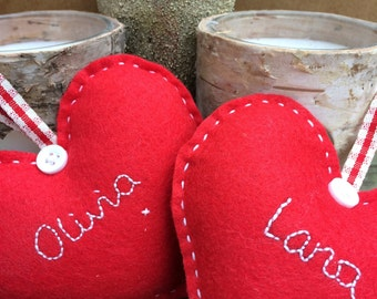Personalised Felt Heart Christmas Decorations
