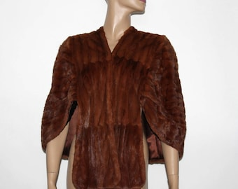 Vintage Mink Stole// Lined// Old Hollywood Glamour//40s Mink Stole// Designer Shukertz//Beautiful Stole// Shoulder Pads//Wedding Stole