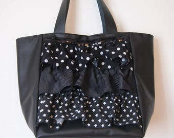 Bag black faux leather ruffles and black and white print ruffles