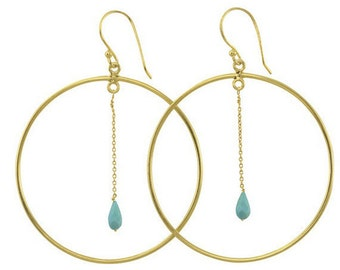 Gemstone Hoop Earrings Gold Layered over Sterling Silver (S116B9)