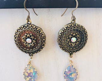 Beautiful Dangle Medallion Earrings with opalescent stones