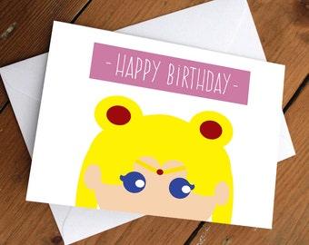 SAILORMOON CARD // happy birthday, cute, pretty, yellow, anniversary, valentines day, celebration, friends, friendship