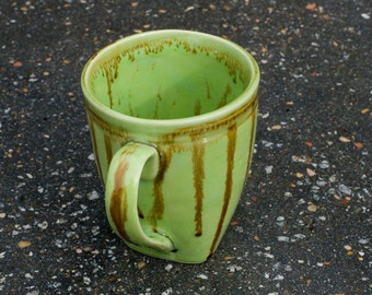 16 oz Mug, Lime Green  - Etched Stripes - red brown over lime green - High Fire stone ware