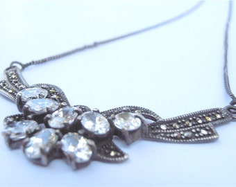Vintage Art Deco Bow Necklace White Topaz Marcasite Pendant Ribbon Sterling Silver Butterfly Jewelry Clear Oval Stones Villacollezione
